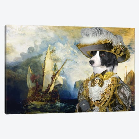 Border Collie Returning From The New World Canvas Print #NDG1322} by Nobility Dogs Canvas Wall Art