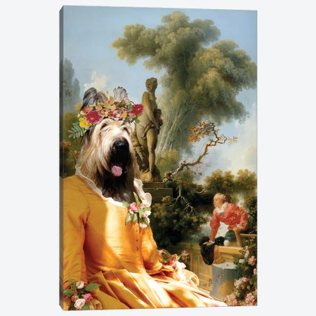 Briard Dog The Gallant Meeting Canvas Print #NDG1328} by Nobility Dogs Canvas Wall Art