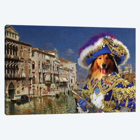 Rough Collie Venice Canvas Print #NDG1331} by Nobility Dogs Art Print