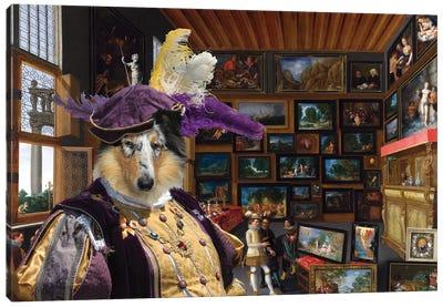 Rough Collie Cognoscenti In A Room Canvas Art Print