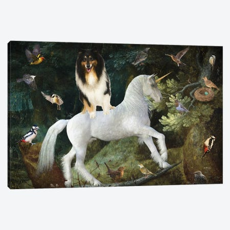 Rough Collie A Forest Landscape With Unicorn Canvas Print #NDG1340} by Nobility Dogs Canvas Artwork