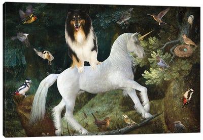 Rough Collie A Forest Landscape With Unicorn Canvas Art Print
