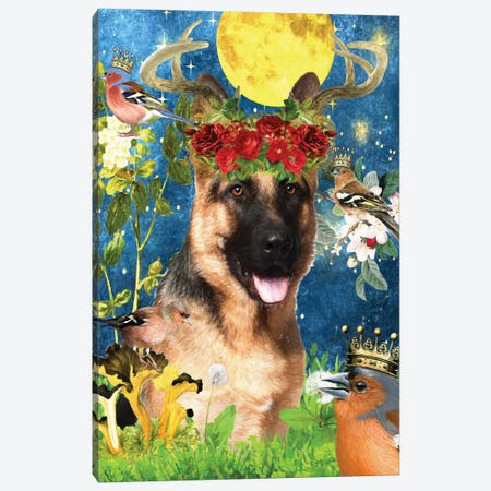 German Shepherd And Chaffinch Canvas Print #NDG1344} by Nobility Dogs Canvas Print
