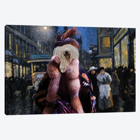 Komondor Dog The Town Night Out Canvas Print #NDG1354} by Nobility Dogs Canvas Art