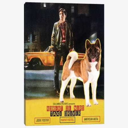 American Akita Taxi Driver Movie Canvas Print #NDG1363} by Nobility Dogs Canvas Wall Art