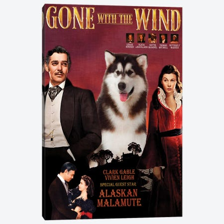 Alaskan Malamute Gone With The Wind Canvas Print #NDG1365} by Nobility Dogs Art Print