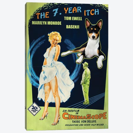 Basenji The Seven Year Itch Canvas Print #NDG1368} by Nobility Dogs Canvas Artwork