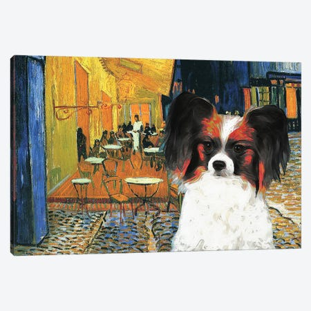 Papillon Dog Cafe Terrace At Night Canvas Print #NDG136} by Nobility Dogs Canvas Art Print