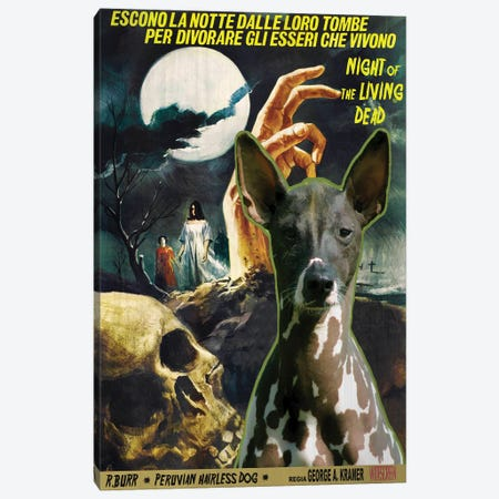 Peruvian Hairless Dog Night Of The Living Dead Canvas Print #NDG1375} by Nobility Dogs Canvas Wall Art