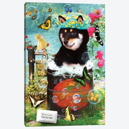 Black Shiba Inu Wash Your Paws Canvas Print #NDG1385} by Nobility Dogs Canvas Art Print