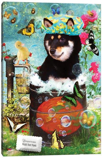 Black Shiba Inu Wash Your Paws Canvas Art Print
