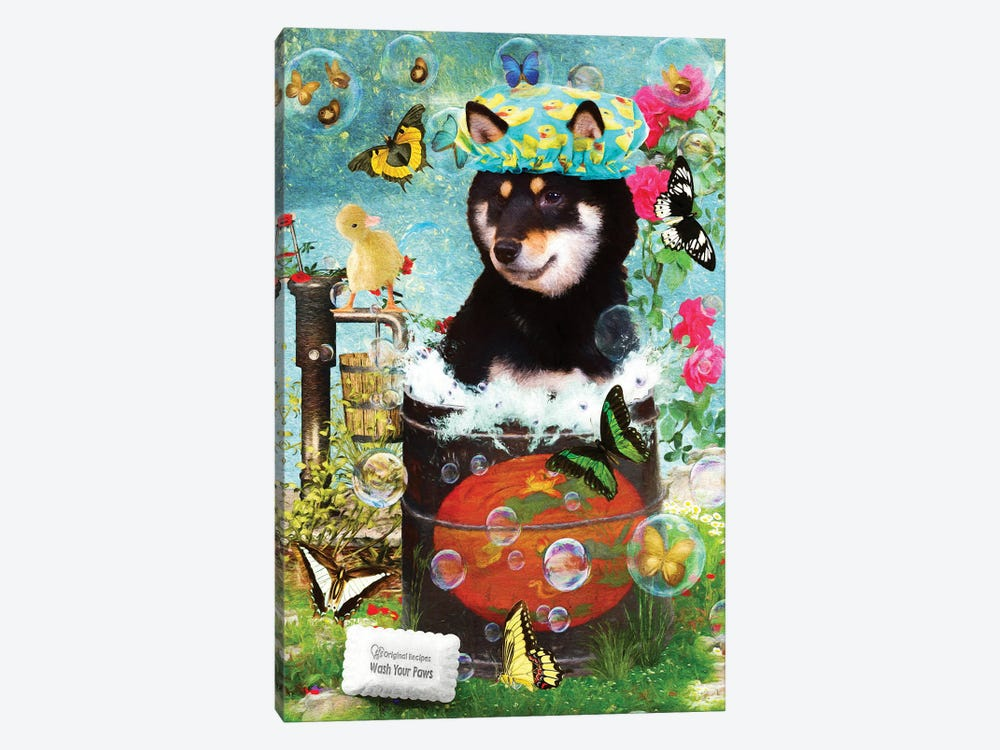 Black Shiba Inu Wash Your Paws by Nobility Dogs 1-piece Canvas Art