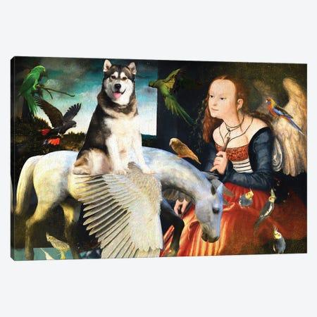Alaskan Malamute, Angel And Pegasus Canvas Print #NDG1386} by Nobility Dogs Canvas Art Print