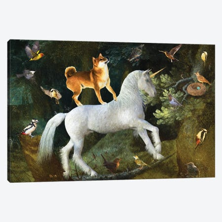 Shiba Inu A Forest Landscape With Unicorn Canvas Print #NDG1397} by Nobility Dogs Canvas Art