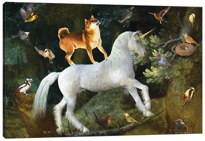 Shiba Inu A Forest Landscape With Unicorn Canvas Art Print