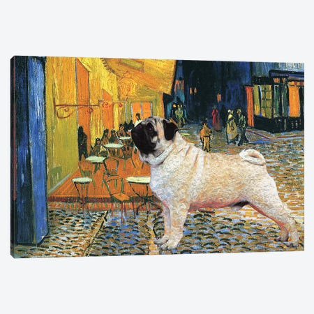Pug Cafe Terrace At Night Canvas Print #NDG139} by Nobility Dogs Canvas Art