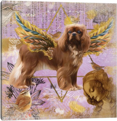 Ruby Cavalier King Charles Spaniel Angel Da Vinci Canvas Art Print