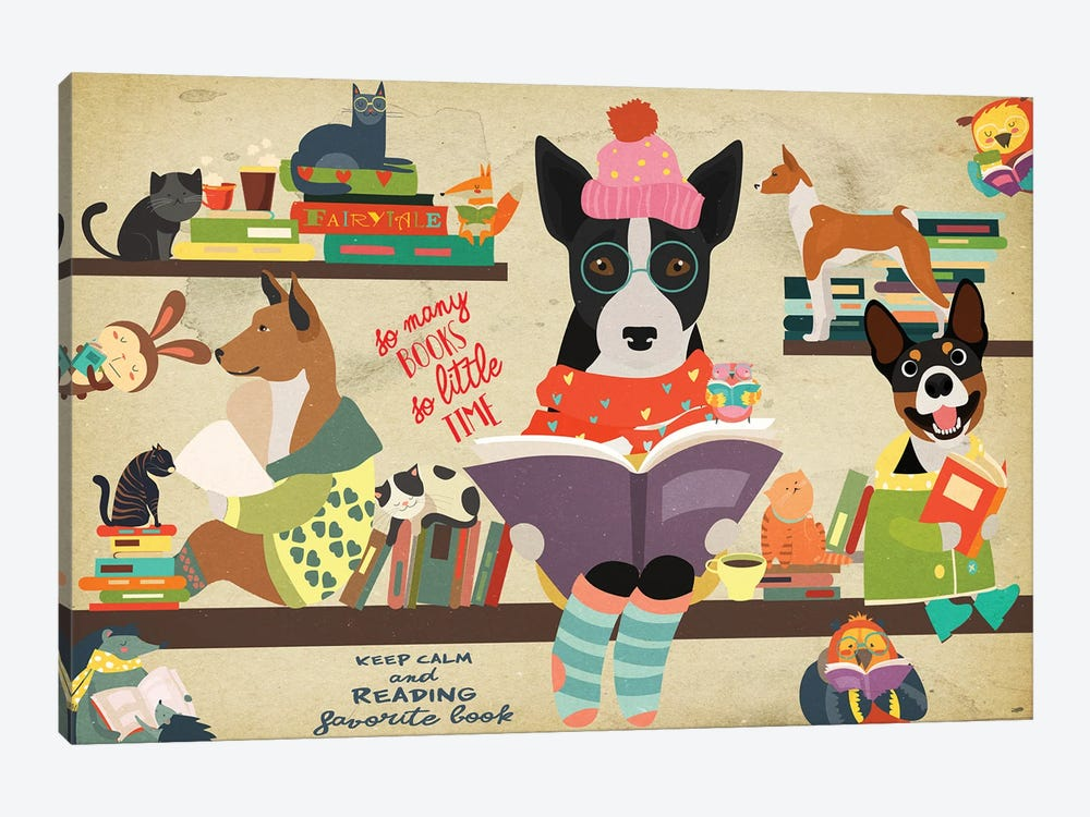 Basenji Book Time by Nobility Dogs 1-piece Canvas Art