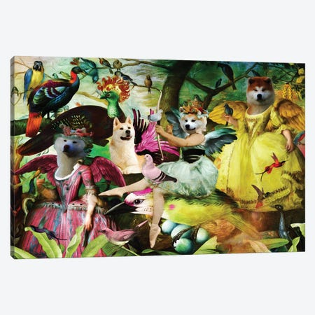 Akita Inu Bird's Paradise Canvas Print #NDG1401} by Nobility Dogs Art Print