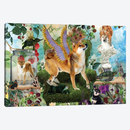 Shiba Inu Berry Paradise Canvas Print #NDG1407} by Nobility Dogs Canvas Wall Art