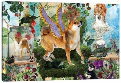 Shiba Inu Berry Paradise Canvas Art Print