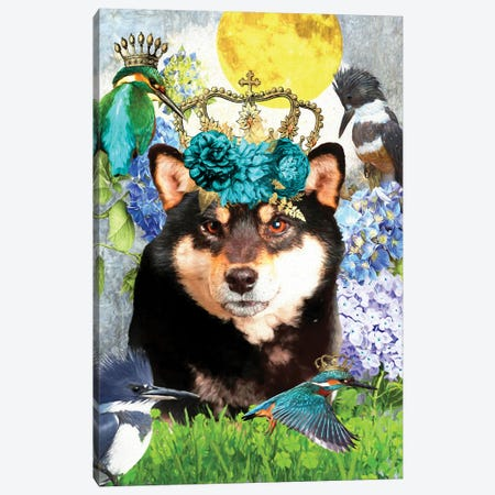 Shiba Inu And Kingfisher Canvas Print #NDG1414} by Nobility Dogs Art Print