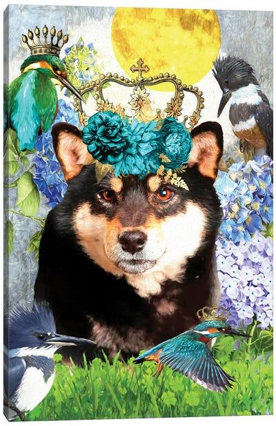 Shiba Inu And Kingfisher Canvas Art Print
