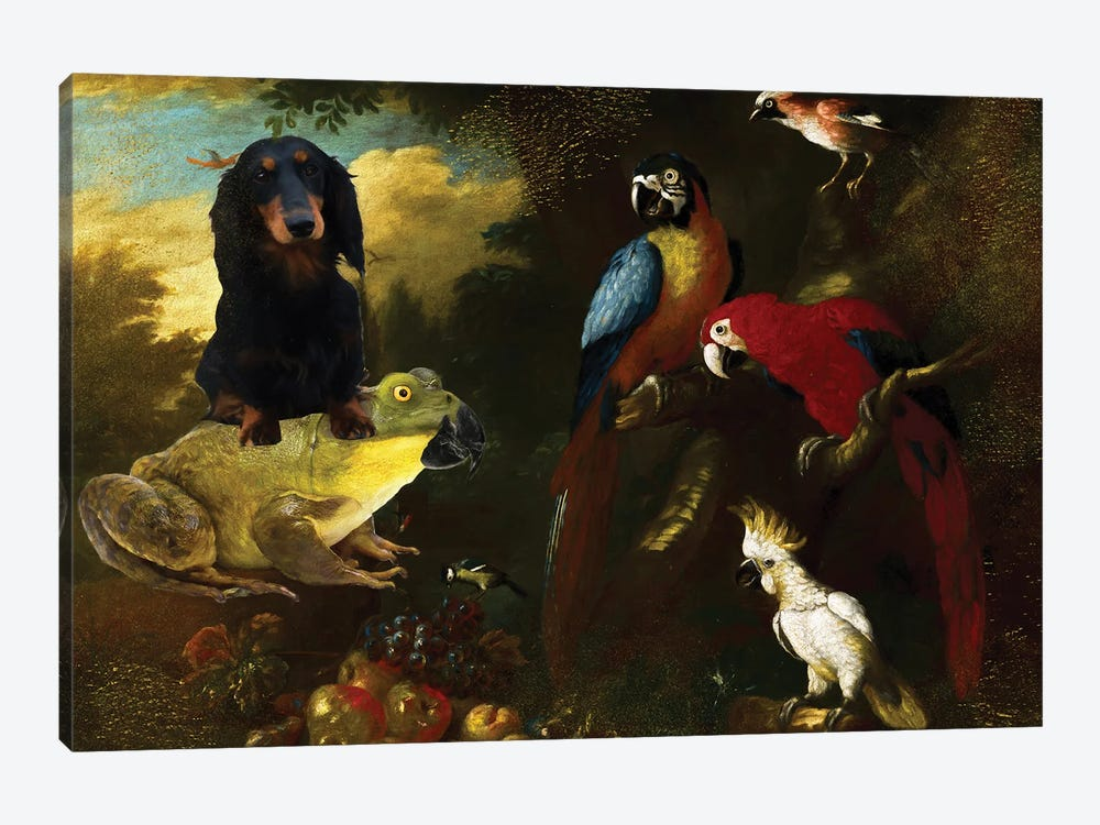 Longhaired Dachshund And Frog by Nobility Dogs 1-piece Art Print