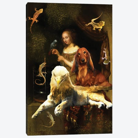 Longhaired Dachshund And Griffin Canvas Print #NDG1419} by Nobility Dogs Canvas Art