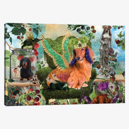 Longhaired Dachshund Berry Paradise Canvas Print #NDG1424} by Nobility Dogs Canvas Art