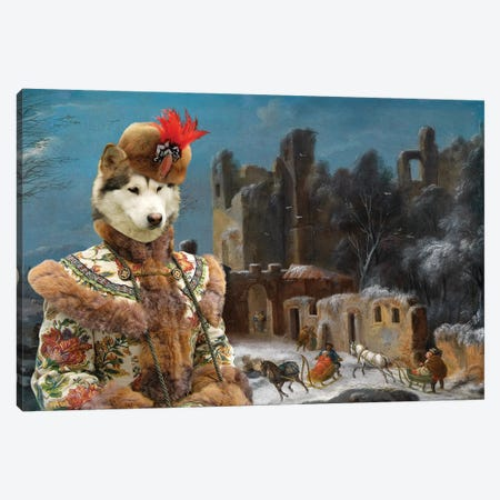 Alaskan Malamute A Winter Landscape With Travelers Canvas Print #NDG1437} by Nobility Dogs Art Print