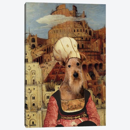 Airedale Terrier The Tower Of Babel Canvas Print #NDG1445} by Nobility Dogs Canvas Wall Art