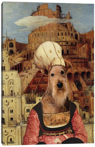 Airedale Terrier The Tower Of Babel Canvas Art Print