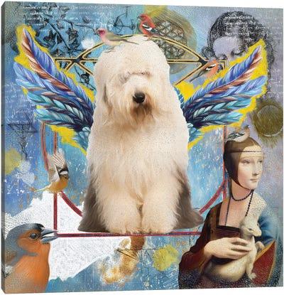 Old English Sheepdog Angel Da Vinci Canvas Art Print