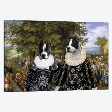 American Staffordshire Terrier Wedding Party Canvas Print #NDG1459} by Nobility Dogs Canvas Art