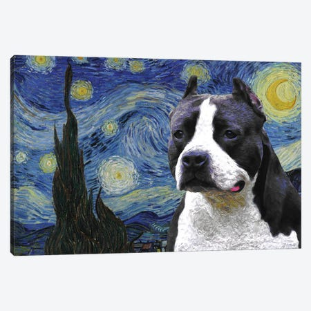 American Staffordshire Terrier The Starry Night Canvas Print #NDG1461} by Nobility Dogs Art Print