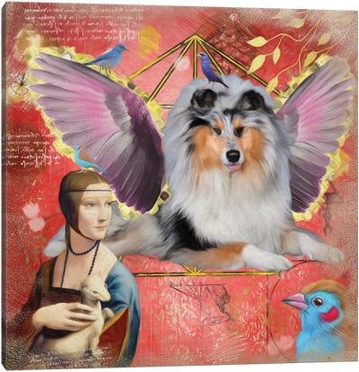 Rough Collie Blue Merle Angel Canvas Art Print