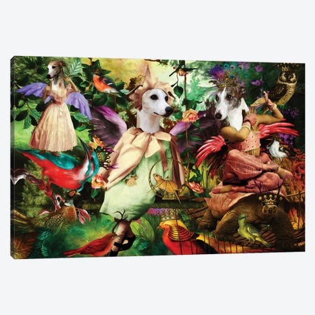 Whippet Enchanted Woodland Canvas Print #NDG1499} by Nobility Dogs Canvas Wall Art