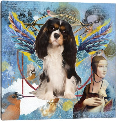 Tri Color Cavalier King Charles Spaniel Angel Da Vinci Canvas Art Print