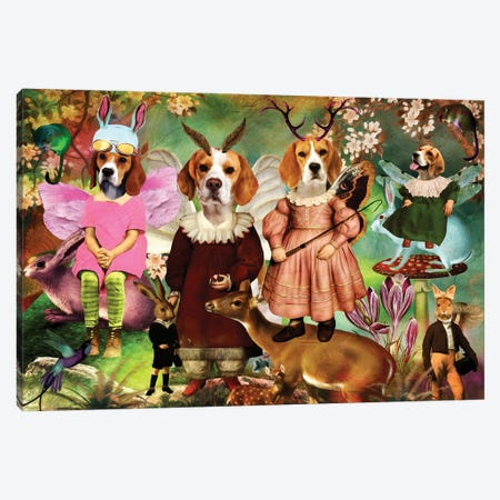 Beagle Enchanted Woodland Canvas Print #NDG1502} by Nobility Dogs Canvas Wall Art