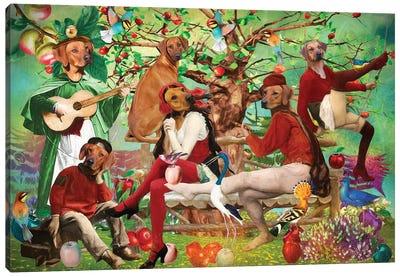 Rhodesian Ridgeback In The Shade Of The Old Apple Tree Canvas Art Print