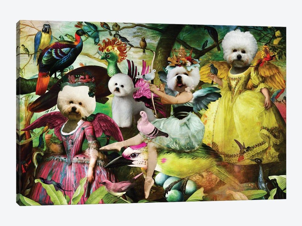 Bichon Frise Bird's Paradise by Nobility Dogs 1-piece Canvas Artwork