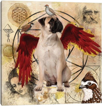 Bullmastiff Angel Da Vinci Canvas Art Print