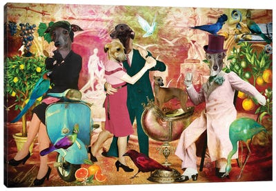 Italian Greyhound La Dolce Vita Canvas Art Print