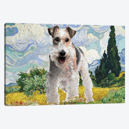 Wire Fox Terrier Wheat Field With Cypresses Canvas Print #NDG1555} by Nobility Dogs Canvas Artwork
