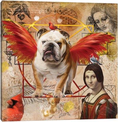 English Bulldog Angel Da Vinci Canvas Art Print