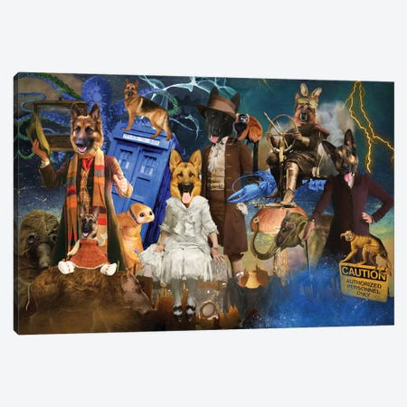 German Shepherd Doctor Who Tardis Canvas Print #NDG1560} by Nobility Dogs Canvas Wall Art