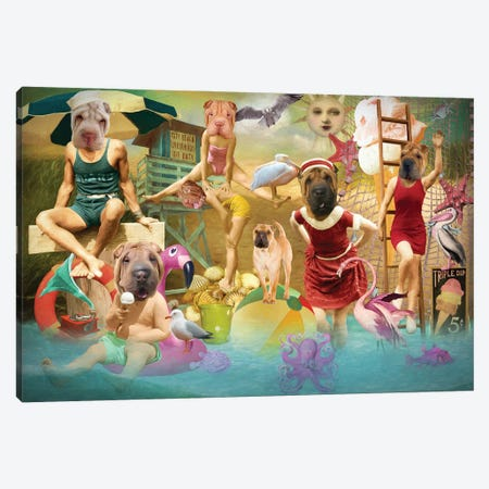 Shar Pei Summertime Canvas Print #NDG1564} by Nobility Dogs Art Print