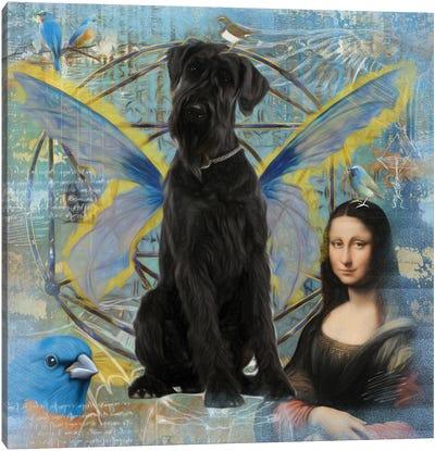 Black Schnauzer Angel Da Vinci Canvas Art Print
