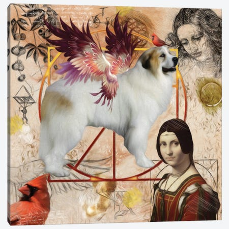 Great Pyrenees Angel Da Vinci Canvas Print #NDG159} by Nobility Dogs Canvas Art